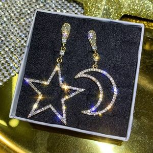 Cubic Zirconia Moon and Star Earrings